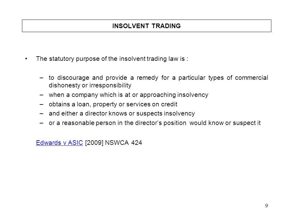 Edwards v ASIC [2009] NSWCA 424 INSOLVENT TRADING